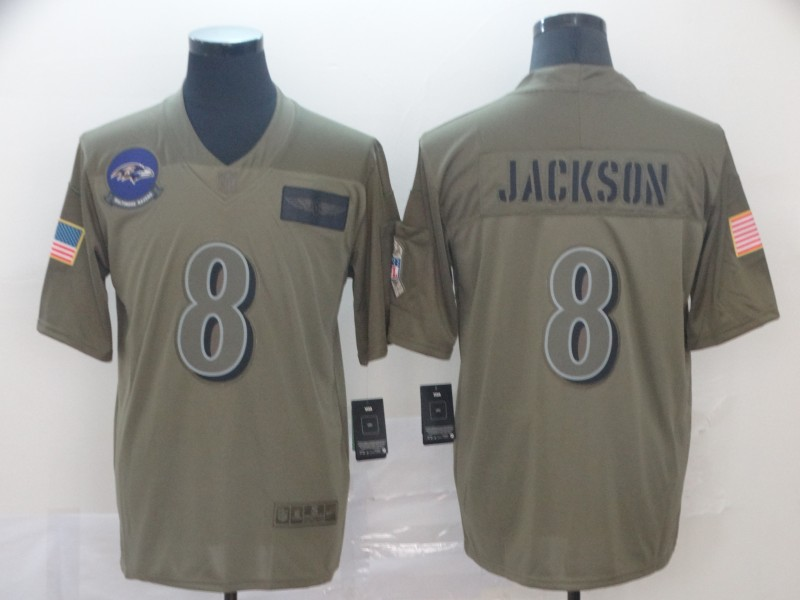 Nike Ravens 8 Lamar Jackson 2019 Olive Salute To Service Limited Jersey