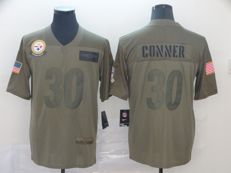 Nike Steelers 30 James Conner 2019 Olive Salute To Service Limited Jersey