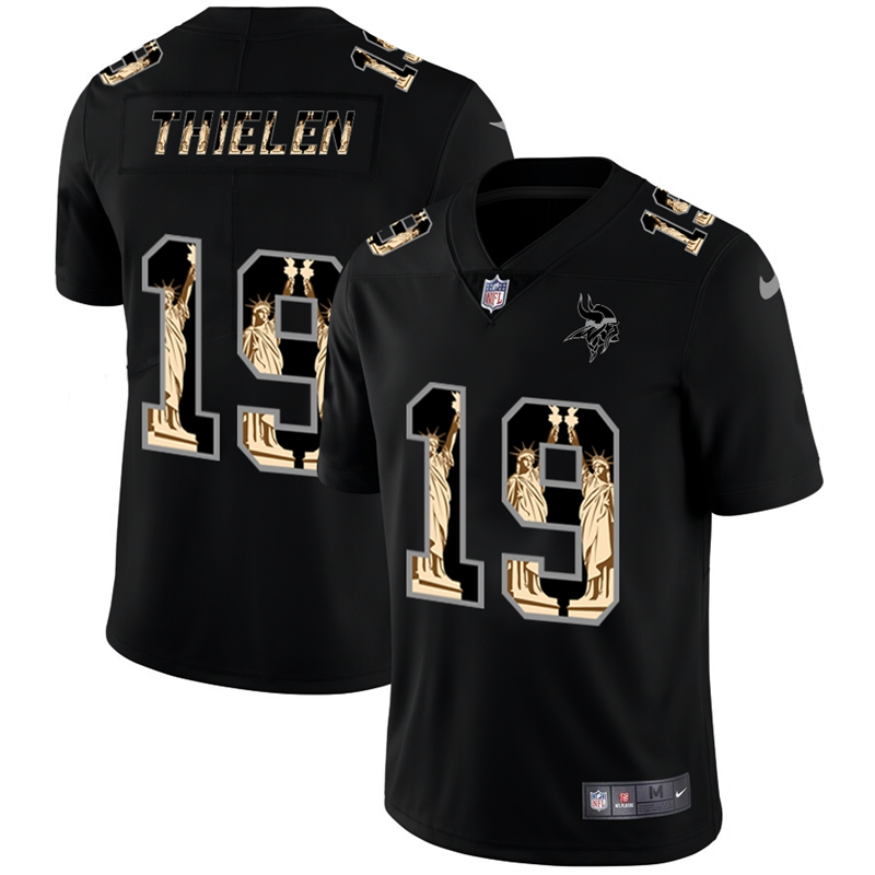 Nike Vikings 19 Adam Thielen Black Statue of Liberty Limited Jersey