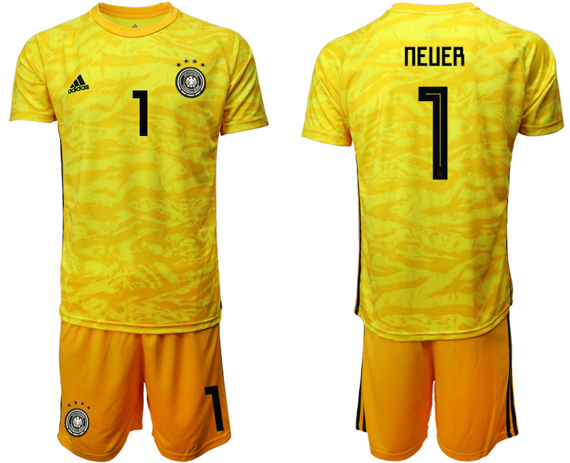 2019-20 Germany 1 NEUER Yellow Goalkeeper Soccer Jersey