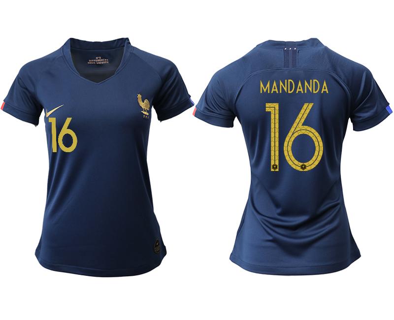 2019-20 France 16 MANDANDA Homen Women Soccer Jersey