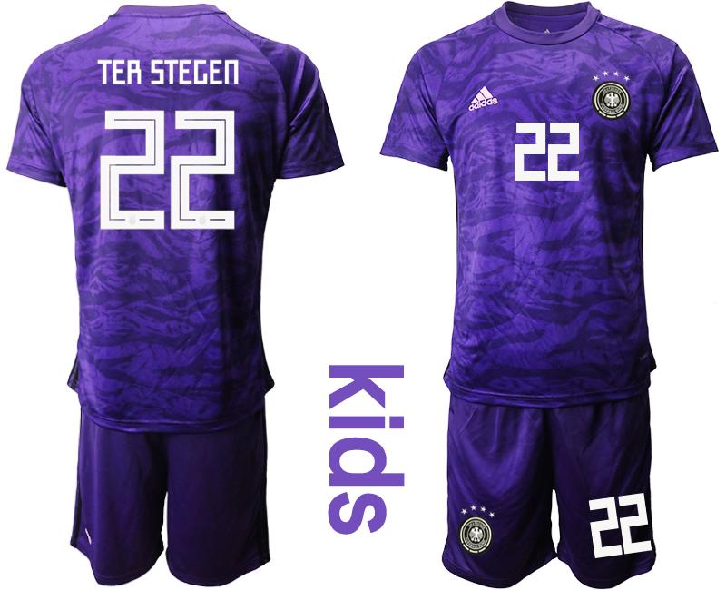 2019-20 Germany 22 TER STEGEN Purple Goalkeeper Youth Soccer Jersey