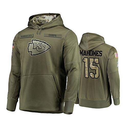 Nike Chiefs 15 Patrick Mahomes 2019 Salute To Service Stitched Hooded Sweatshirt