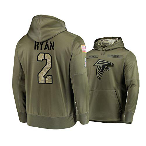 Nike Falcons 2 Matt Ryan 2019 Salute To Service Stitched Hooded Sweatshirt
