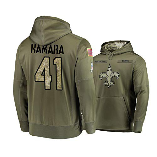 Nike Saints 41 Alvin Kamara 2019 Salute To Service Stitched Hooded Sweatshirt