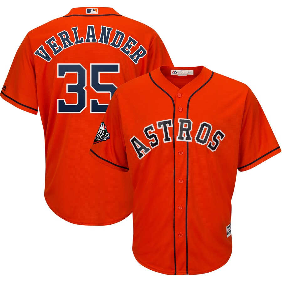 Astros 35 Justin Verlander Orange 2019 World Series Bound Cool Base Jersey