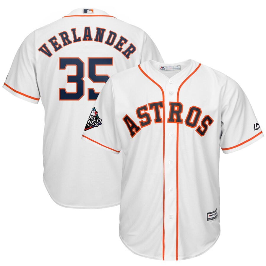 Astros 35 Justin Verlander White 2019 World Series Bound Cool Base Jersey