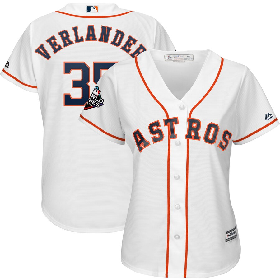 Astros 35 Justin Verlander White Women 2019 World Series Bound Cool Base Jersey