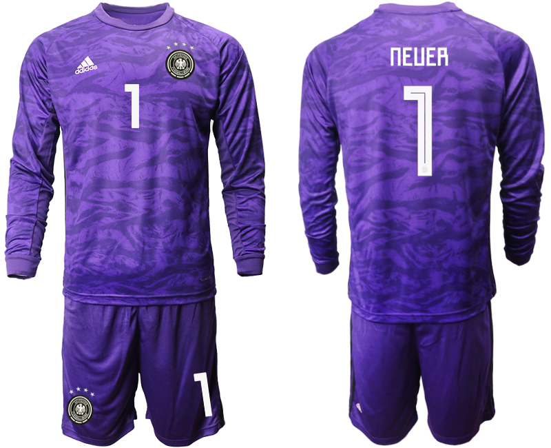 2019-20 Germany 1 NEUER Purple Green Long Sleeve Goalkeeper Soccer Jersey