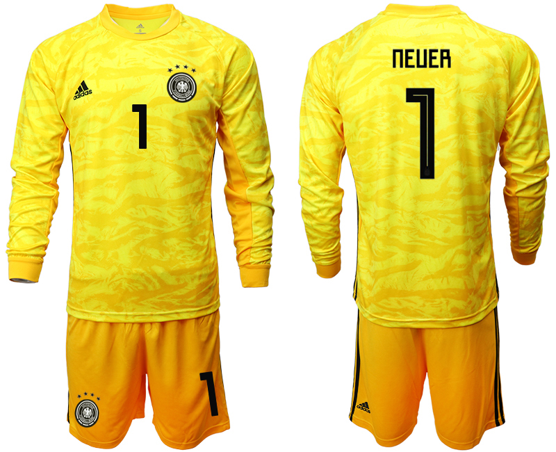 2019-20 Germany 1 NEUER Yellow Long Sleeve Goalkeeper Soccer Jersey