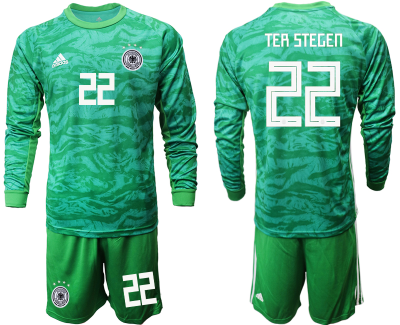 2019-20 Germany 22 TER STEGEN Green Long Sleeve Goalkeeper Soccer Jersey