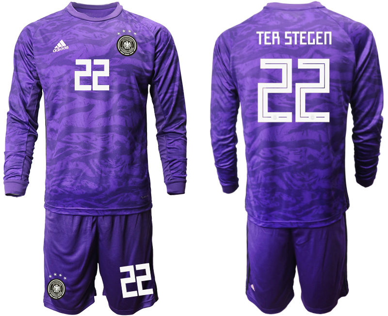 2019-20 Germany 22 TER STEGEN Purple Green Long Sleeve Goalkeeper Soccer Jersey