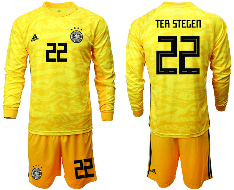 2019-20 Germany 22 TER STEGEN Yellow Long Sleeve Goalkeeper Soccer Jersey