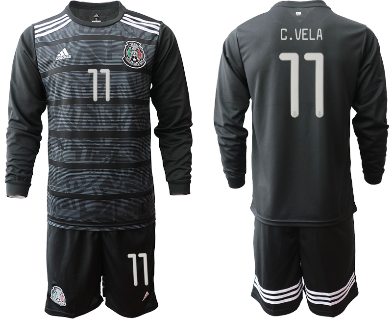 2019-20 Mexico 11 C.VELA Home Long Sleeve Soccer Jersey