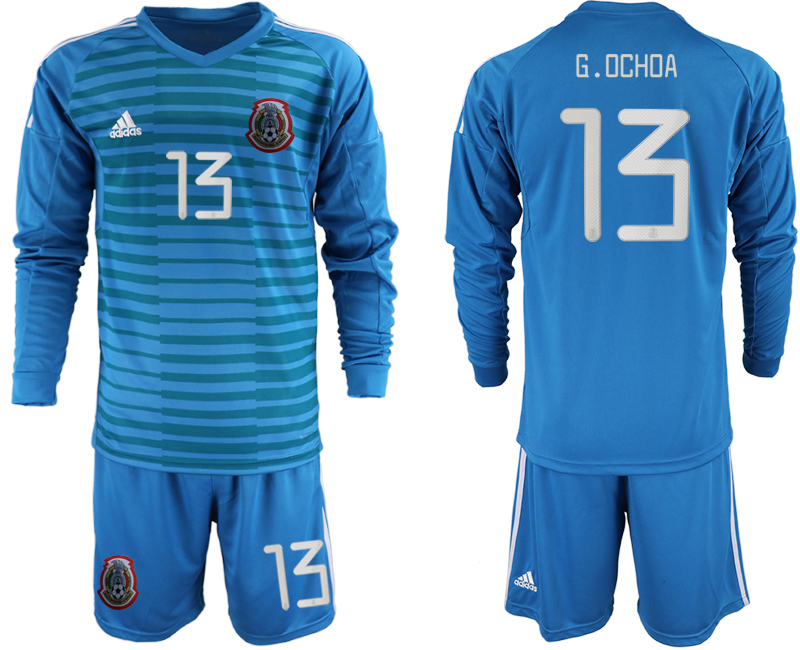 2019-20 Mexico 13 G.OCHOA Blue Long Sleeve Goalkeeper Soccer Jersey
