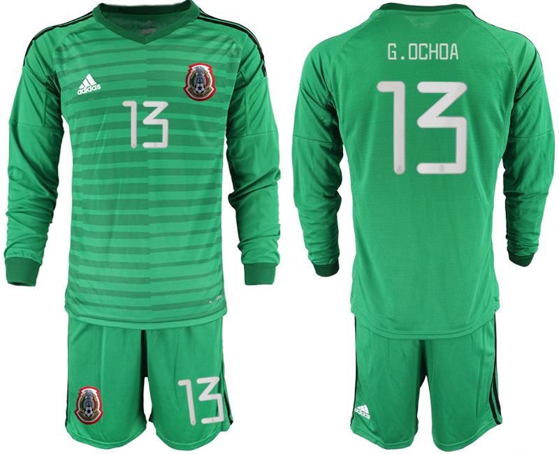 2019-20 Mexico 13 G.OCHOA Green Long Sleeve Goalkeeper Soccer Jersey