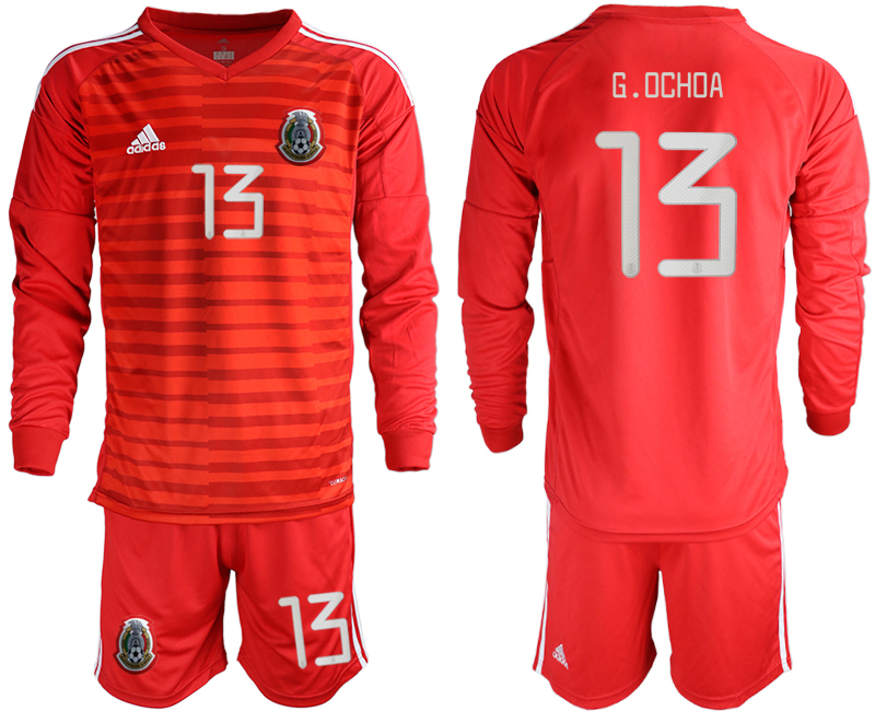 2019-20 Mexico 13 G.OCHOA Red Long Sleeve Goalkeeper Soccer Jersey