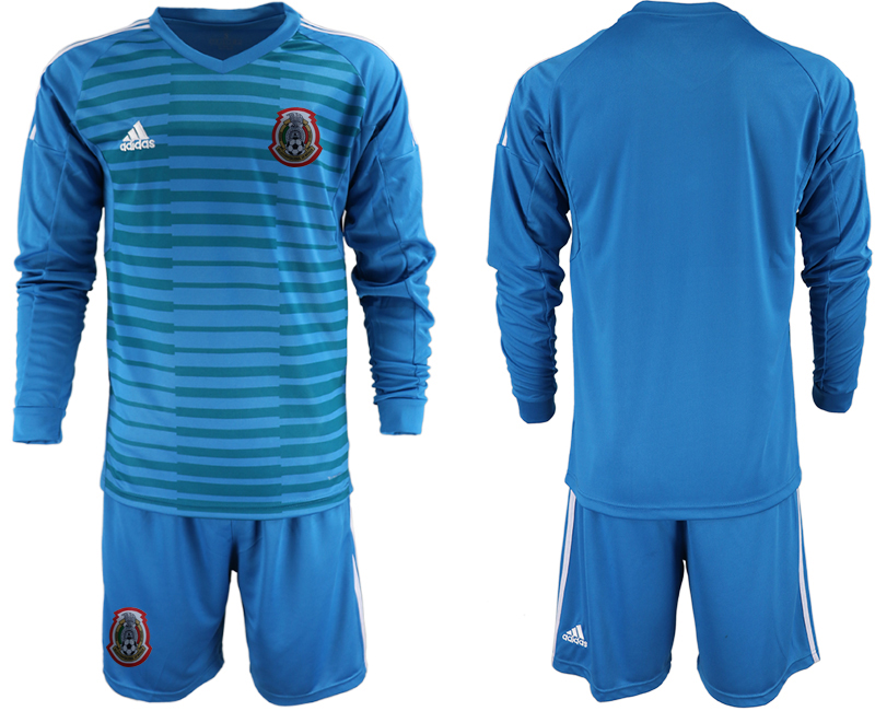 2019-20 Mexico Blue Long Sleeve Goalkeeper Soccer Jersey