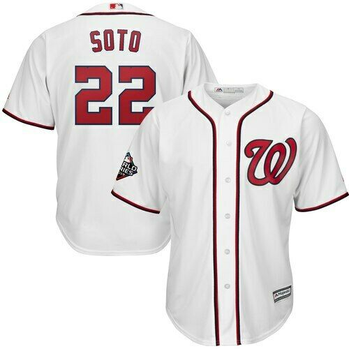 Nationals 22 Juan Soto White 2019 World Series Bound Cool Base Jersey