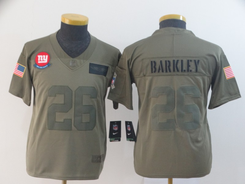 Nike Giants 26 Saquon Barkley 2019 Youth Olive Salute To Service Limited Jersey