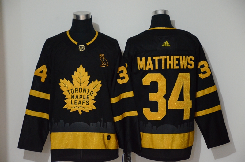Maple Leafs 34 Auston Matthews Black With Special Glittery Logo Adidas Jersey