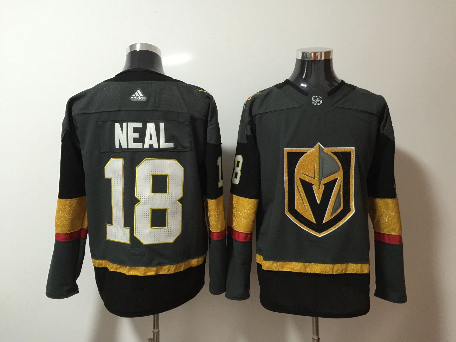 Vegas Golden Knights 18 James Neal Gray With Special Glittery Logo Adidas Jersey