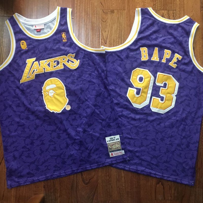 Lakers 93 Bape Purple 1996-97 Hardwood Classics Jersey