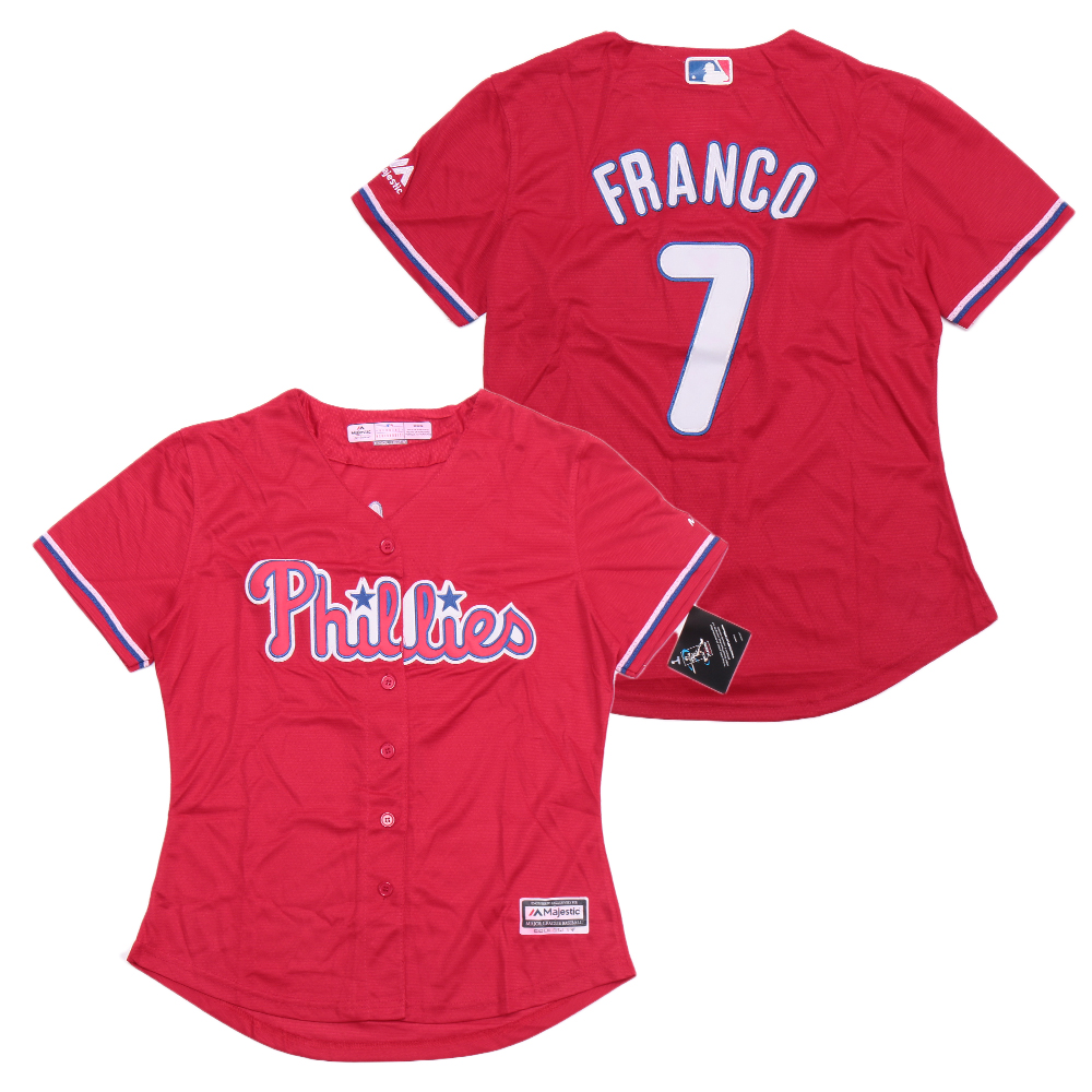 Phillies 7 Maikel Franco Red Women Cool Base Jersey