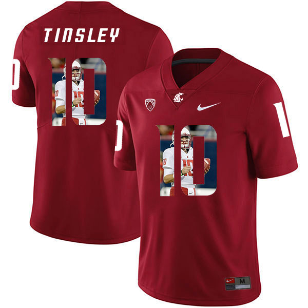 Washington State Cougars 10 Trey Tinsley Red Fashion College Football Jersey