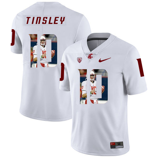 Washington State Cougars 10 Trey Tinsley White Fashion College Football Jersey