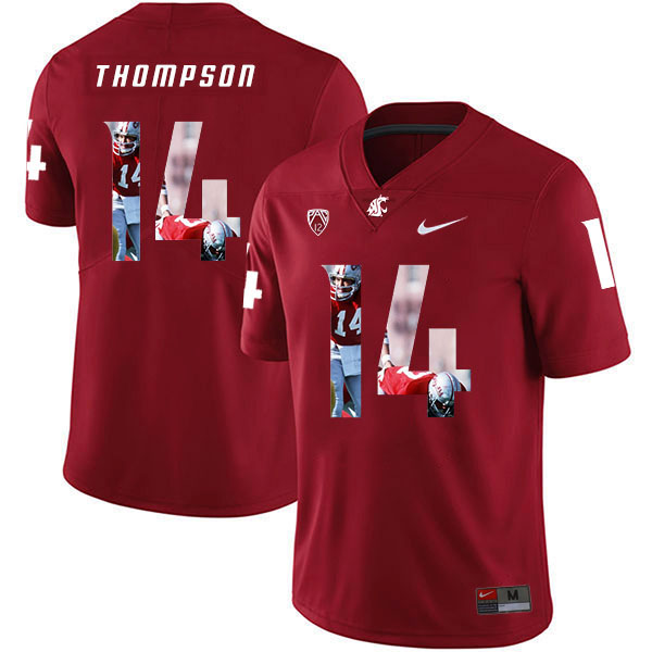 Washington State Cougars 14 Jack Thompson Red Fashion College Football Jersey