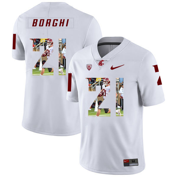 Washington State Cougars 21 Max Borghi White Fashion College Football Jersey