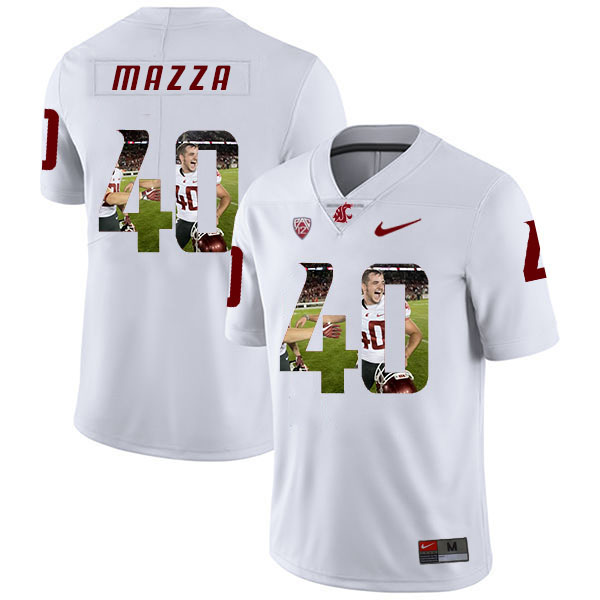 Washington State Cougars 40 Blake Mazza White Fashion College Football Jersey