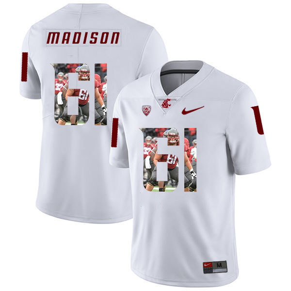 Washington State Cougars 61 Cole Madison WhiteFashion College Football Jersey
