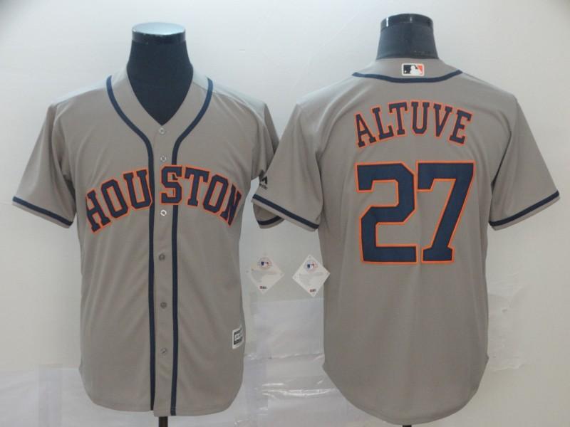 Astros 27 Jose Altuve Gray Cool Base Jersey