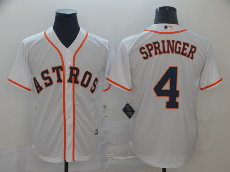 Astros 4 George Springer White Cool Base Jersey