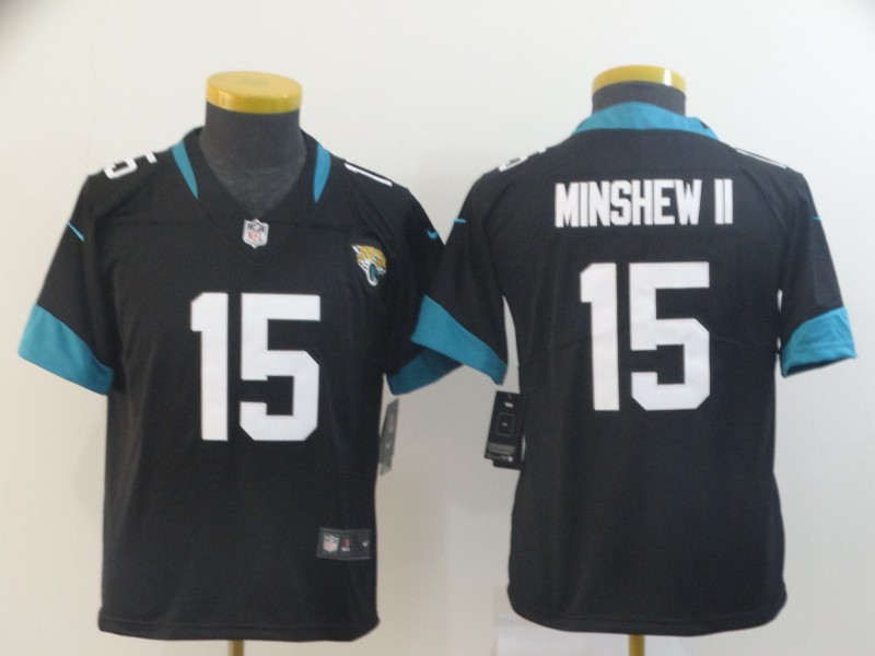 Nike Jaguars 15 Gardner Minshew II Black Youth Vapor Untouchable Limited Jersey