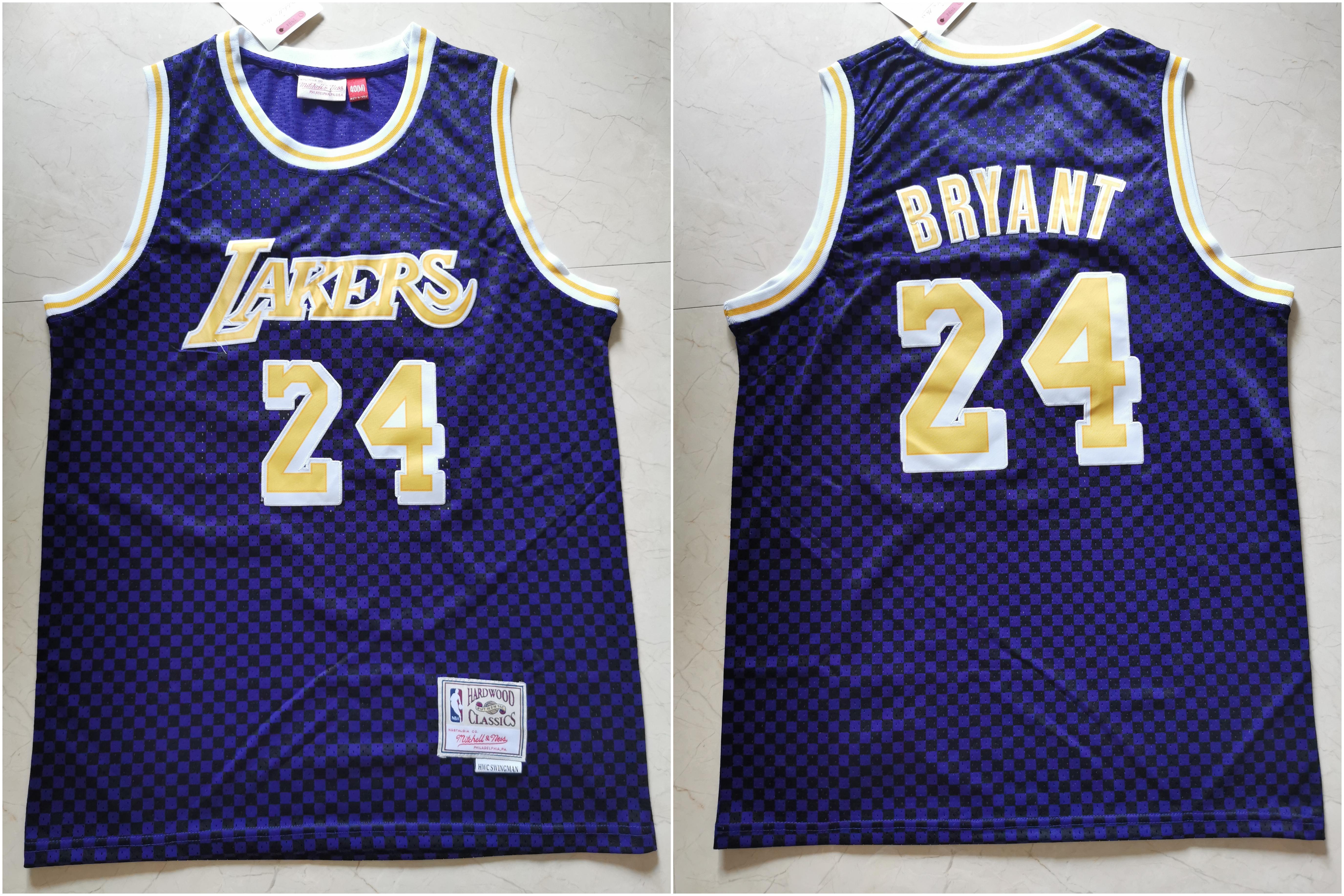 Lakers 24 Kobe Bryant Purple Hardwood Classics Jersey