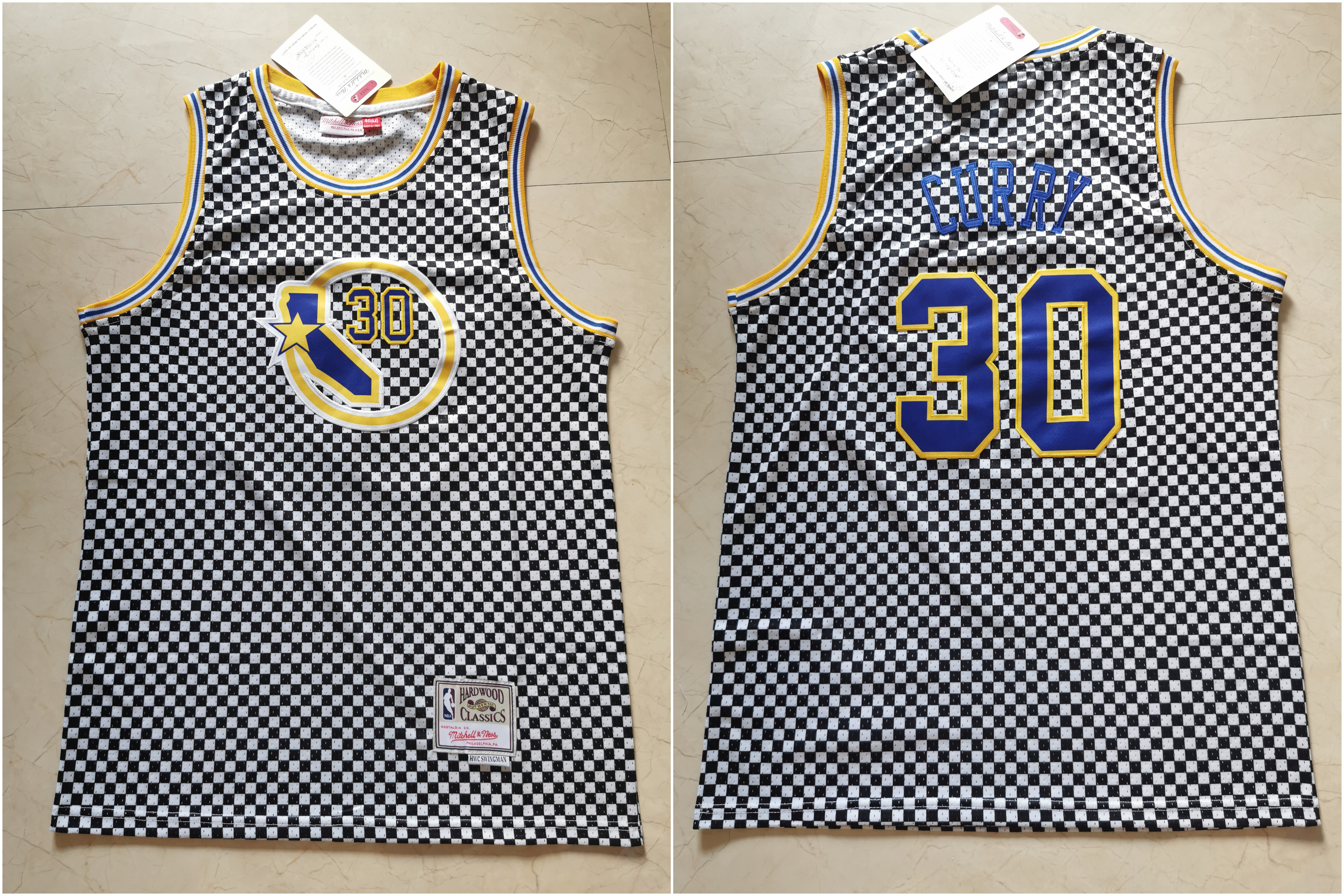 Warriors 30 Stephen Curry White Hardwood Classics Jersey
