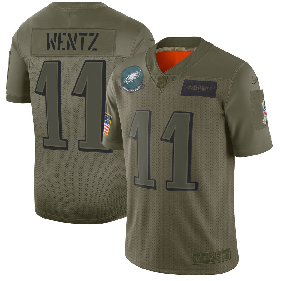 Nike Eagles 11 Carson Wentz 2019 Olive Salute To Service Limited Jersey