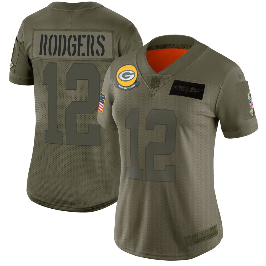 Nike Packers 12 Aaron Rodgers 2019 Olive Women Salute To Service Limited Jersey
