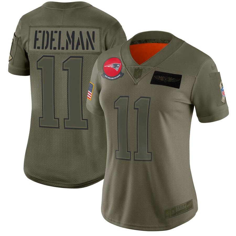 Nike Patriots 11 Julian Edelman 2019 Olive Women Salute To Service Limited Jersey