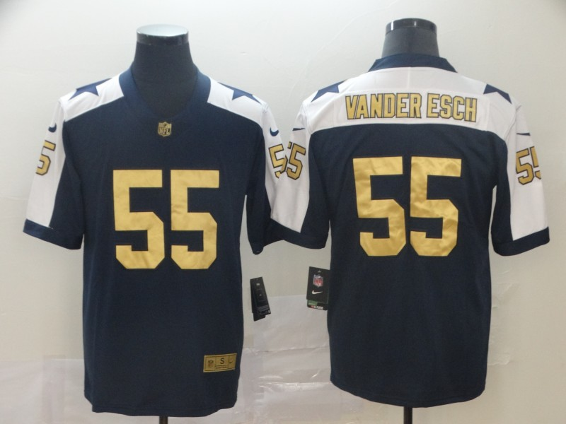 Nike Cowboys 55 Leighton Vander Esch Navy Gold Throwback Vapor Untouchable Limited Jersey