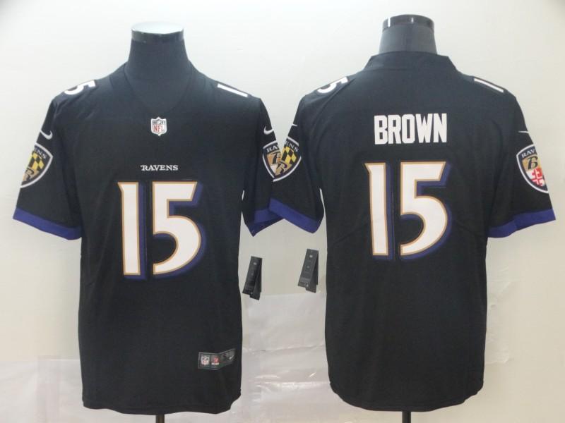 Nike Ravens 15 Marquise Brown Black Alternate Vapor Untouchable Limited Jersey