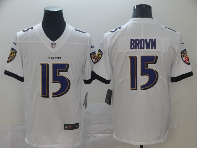 Nike Ravens 15 Marquise Brown White Vapor Untouchable Limited Jersey
