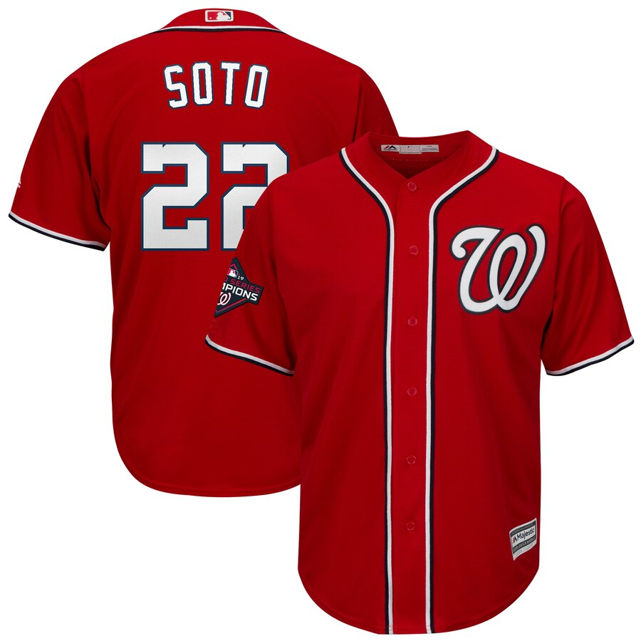 Nationals 22 Juan Soto Red 2019 World Series Champions Cool Base Jersey