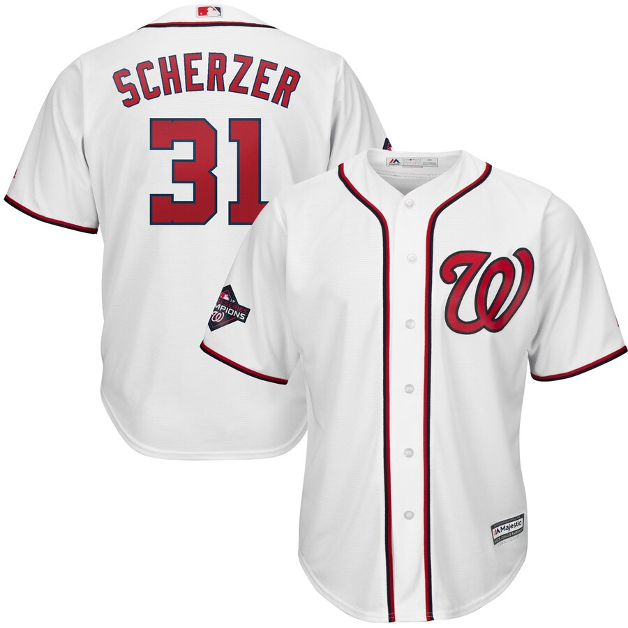 Nationals 31 Max Scherzer White 2019 World Series Champions Cool Base Jersey