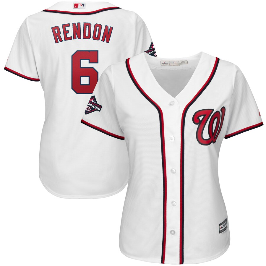Nationals 6 Anthony Rendon White Women 2019 World Series Champions Cool Base Jersey