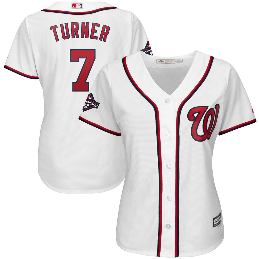 Nationals 7 Trea Turner White Women 2019 World Series Champions Cool Base Jersey