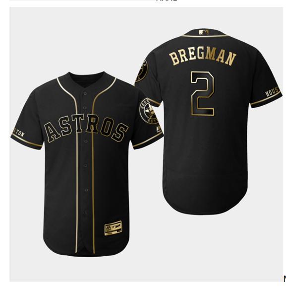 Astros 2 Alex Bregman Black Gold Flexbase Jersey